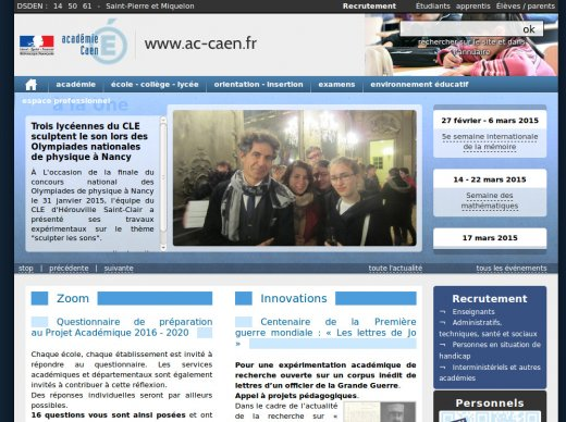 copie ecran site rectorat